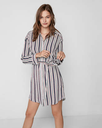 Express Petite Striped Long Sleeve Shirt Dress
