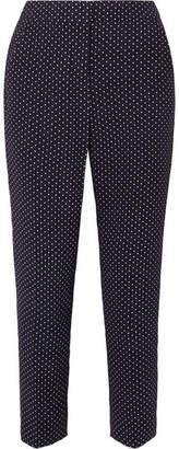 J.Crew Polka-dot Crepe Slim-leg Pants - Navy