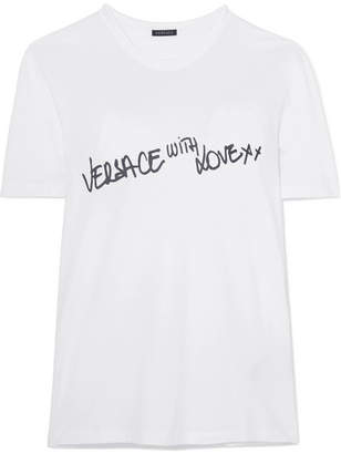 1244ea80 Versace Printed Stretch-cotton Jersey T-shirt - White
