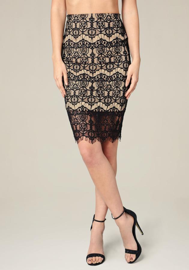 Lace Scallop Hem Skirt