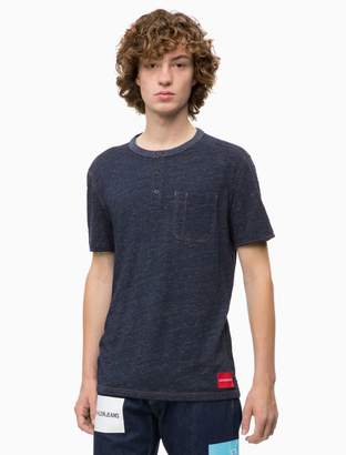 Calvin Klein slim fit denim knit henley t-shirt