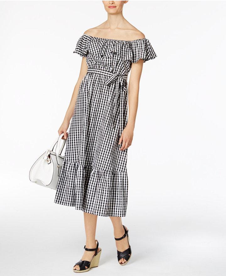 Grace Elements Cotton Off-The-Shoulder Gingham Midi Dress