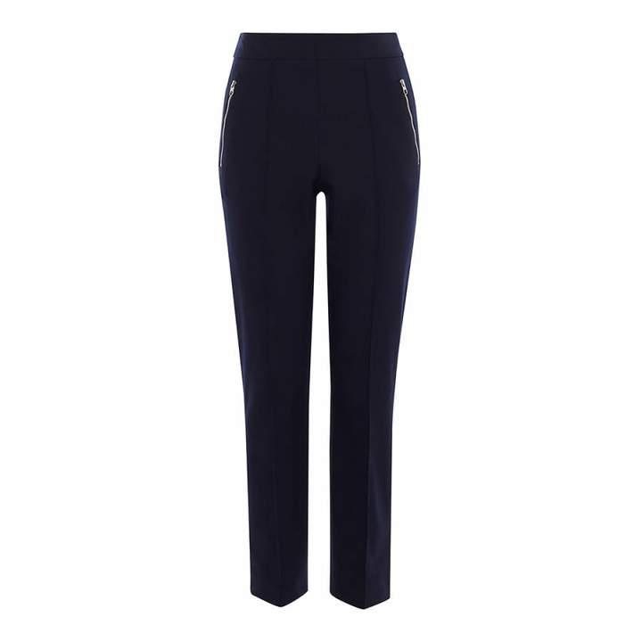 Navy Slim Leg Stretch Trousers