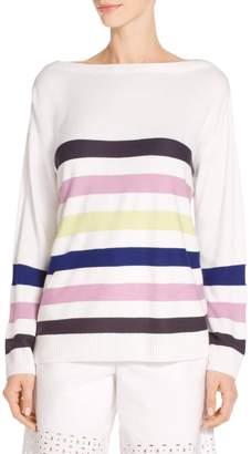 St. John Links Stripe Knit Drop Shoulder Sweater