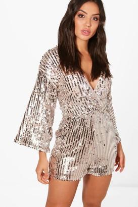 boohoo Sequin Stripe Kimono Sleeve Wrap Playsuit