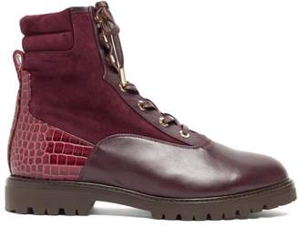Aquazzura Lace Up Leather And Suede Ankle Boots - Womens - Burgundy