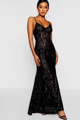boohoo Sequin & Mesh Strappy Maxi Dress