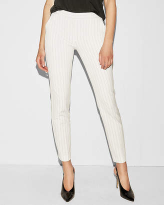 Express Mid Rise White Pinstripe Columnist Ankle Pant