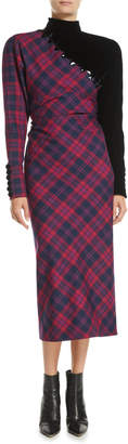 Marc Jacobs Mock-Neck Long-Sleeve Asymmetric Plaid Wool Midi Dress w/ Beading