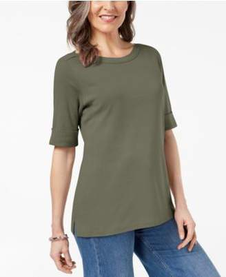 Karen Scott Cuffed Boat-Neck Top, Created for Macy's