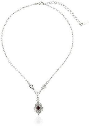 Downton Abbey Boxed Silver-Tone Amethyst Crystal Drop Pendant Necklace