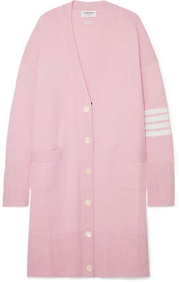 Thom Browne Oversized Striped Merino Wool Cardigan - Baby pink