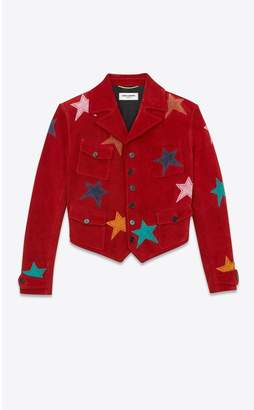 Saint Laurent Short Suede Jacket Decorated With Leather Stars