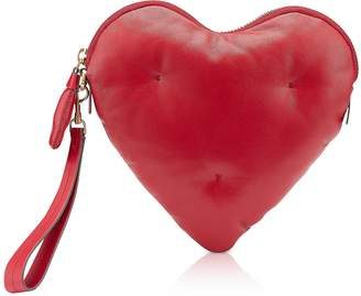 Anya Hindmarch Red Nappa Leather Heart Chubby Clutch