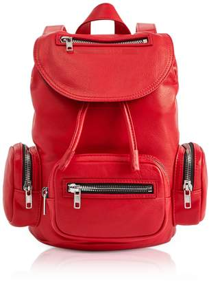 McQ Loveless Riot Red Smooth Leather Mini Drawstring Convertible Backpack