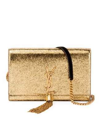 Saint Laurent Kate Monogram Small Crackled Metallic Wallet on Chain - Bronze Hardware