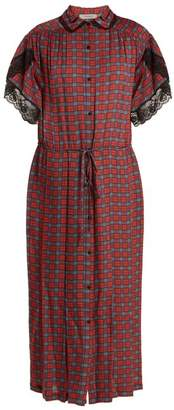 Preen Line Willow Checked Crepe Dress - Womens - Red Multi
