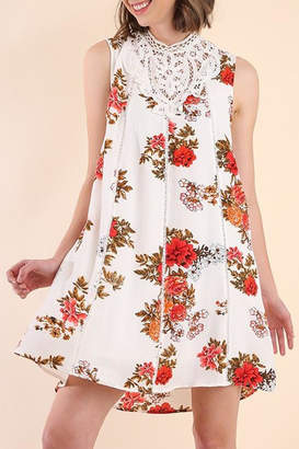 Umgee USA White-Floral Print Dress