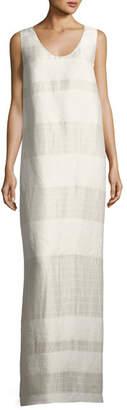 The Row Yellin Sleeveless Textured Stripe Linen-Silk Maxi Dress, Light Beige