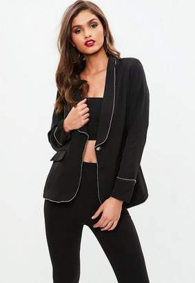 Missguided Black Stud Trim Blazer, Black