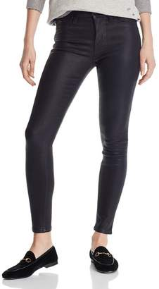 Hudson Nico Mid Rise Ankle Super Skinny Jeans in Noir Coated