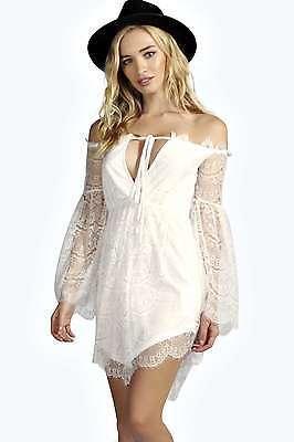 Boohoo Womens Anja Off The Shoulder Eyelash Lace Dress