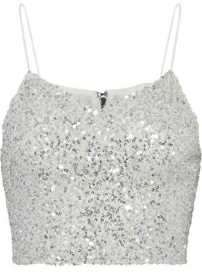 Alice + Olivia Ao.la By Archer Cropped Sequined Tulle Top