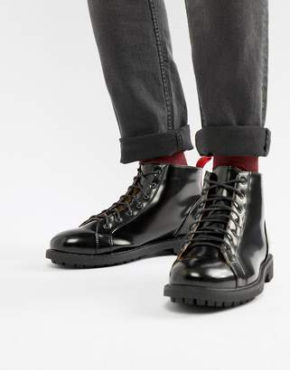 Truffle Collection High Shine Boots with Red Taping in Black
