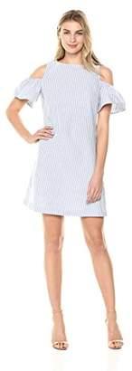Lark & Ro Women's Cold Shoulder Chambray Striped Dress