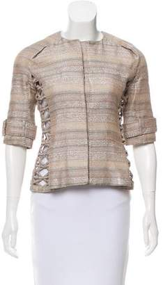 J. Mendel Metallic-Accented Cutout Jacket