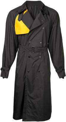 Zambesi double breasted color blocked trench coat