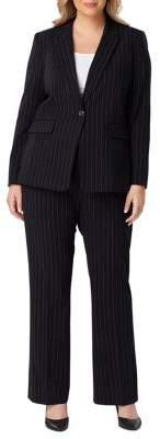 Tahari Arthur S. Levine Plus Pinstriped Pant Suit