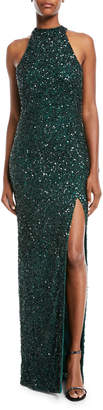 Rachel Gilbert Sequined High-Neck Halter Gown
