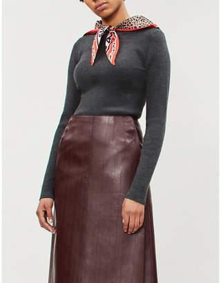 Sandro Leopard-print neck-tie ribbed-knit jumper