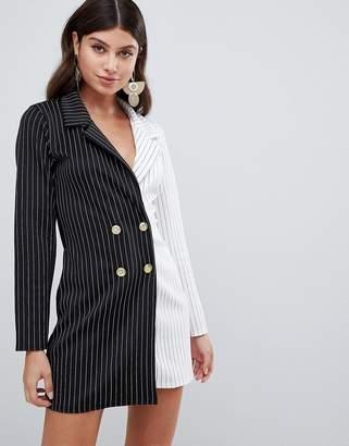 PrettyLittleThing stripe contrast blazer dress in mono