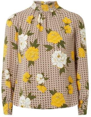 Dorothy Perkins Womens Petite Multicoloured Shirred Neck Floral Print Top