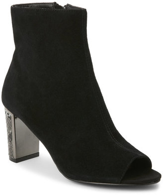 tahari Black Aviator Peep Toe Ankle Booties $119 thestylecure.com