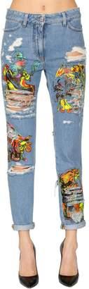 Jeremy Scott Los Exitos Print Cotton Denim Jeans
