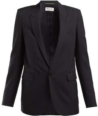 Saint Laurent Single Breasted Wool Twill Blazer - Womens - Black