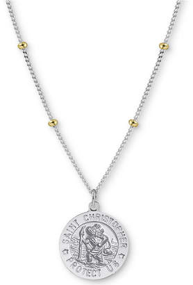 """Argentovivo St. Christopher Medallion 18"""" Pendant Necklace in Sterling Silver and Gold-Plate"""