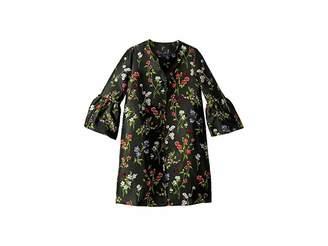 Oscar de la Renta Childrenswear Floral Ruffle Sleeve Button Up Jacket (Big Kids)