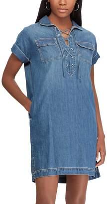 Chaps Women's Lace-Up Denim Shirt Dress