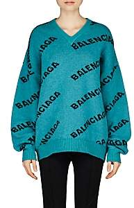 Balenciaga Women's Intarsia-Knit Wool Oversized Sweater-Turquoise