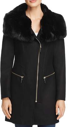 Via Spiga Asymmetric Zip Faux Fur Trim Coat