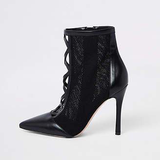 River Island Black mesh stiletto heel ankle boots
