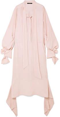 Rokh - Tie-detailed Georgette Midi Dress - Blush