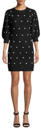Saylor 3/4-Sleeve Pearly Dot Sweater Mini Dress