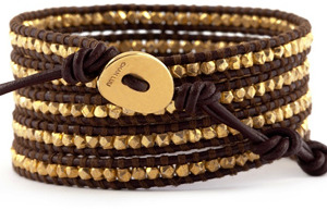 Chan Luu Gold Vermeil Wrap Bracelet on Brown Leather