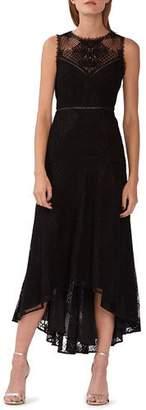 ML Monique Lhuillier Crewneck Sleeveless High-Low Lace Cocktail Dress