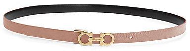 Salvatore Ferragamo Skinny Gancini Leather Belt